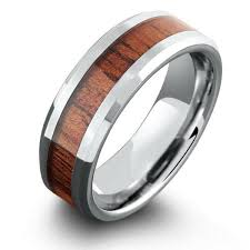 mens wooden wedding bands 8mm koa wood ring with polished beveled edges northernroyal
