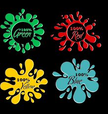 paint color samples icons various splashing style free vector in