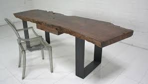 Modern Walnut Desk Www Roomservicestore Industrial Modern Walnut Slab Desk