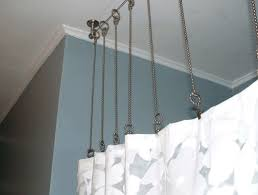 How To Hang A Curtain Curtain Ceiling Mounted Curtain Rods Inside Charming How To