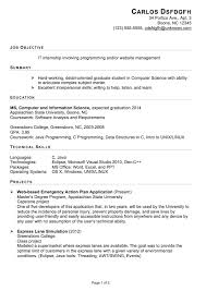 Examples For Objectives On Resume by Functional Resume Sample For An It Internship Susan Ireland Resumes