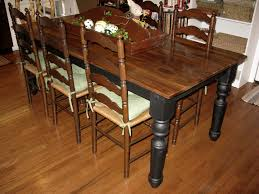 antique and vintage farmhouse dining table with oak wooden top and