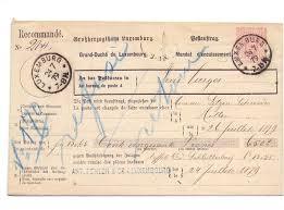 bureau d encaissement luxembourg 1879 armoiries prifix 9 mandat d encaissement pour