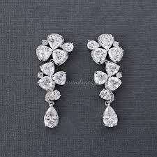 drop bridal earrings trillion flower cz drop bridal earrings lynne