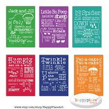 6 nursery rhyme printable wall art print set digital file