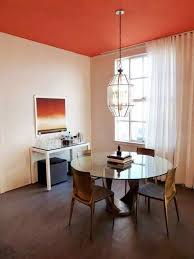 dining room paint colors with orange ceiling and white walls and