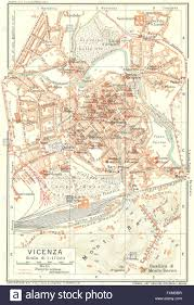 Italy City Map by Vicenza Vintage Town City Map Plan Italy 1927 Stock Photo