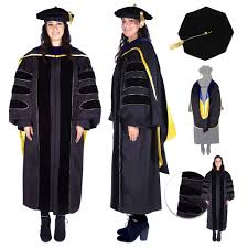 graduation gown and cap premium black phd gown cap regalia set