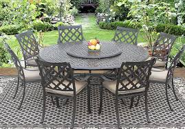 Patio Round Tables Camino Real Cast Aluminum Outdoor Patio 9pc Set 8 Dining Chairs 71