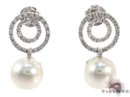 diamond and pearl earrings dangle diamond white pearl earrings white gold 14k