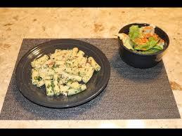 blue apron green garlic pesto pasta w butter lettuce salad