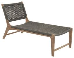 Outdoor Chaise Lounges Durable Wood And Rope Outdoor Lounge Chair Beach Style Outdoor