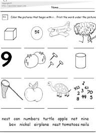 the letter n the letter n picture and word match worksheet pdf
