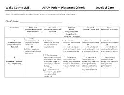 Risk Management Worksheet Fillable Asam Levels Of Care Chart Substance Abuse Asam Patient
