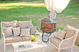 Corner Fire Pit by Home Design Cute White Rattan Chairs In Gray Fabric Pads And