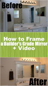 Bathroom Mirror Trim Ideas How To Frame A Builders Grade Mirror Before And After Via