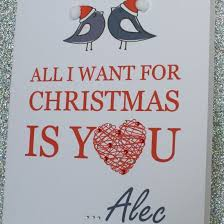 large handmade personalised all i want for christmas card husband
