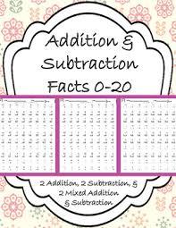 addition u0026 subtraction fluency fact drills 0 20 by witty kiddies