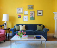 Colorful Living Room With Peacock Art Blue Walls Fridays - Colorful living room