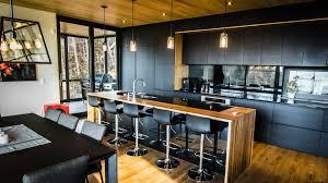 Kitchen Design Montreal Ces Armoires Faites De Bois De Frêne évolution Hd Noir Sont Une