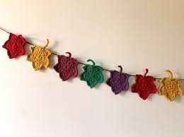 a crocheted autumn decoration maple leaf garland loulou downtown