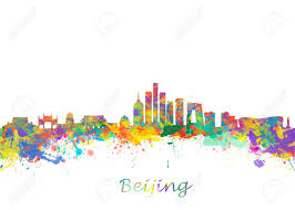 watercolor art print of the skyline of beijing china beautiful