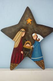 country nativity on a star use craft paper and mod podge