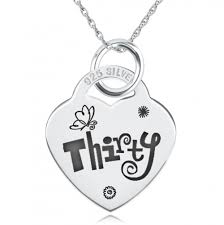 Engravable Heart Necklace 30th Thirty Birthday Heart Necklace Pendant 925 Silver