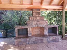 outdoor fireplace wood boxes raised hearth fire brick wood
