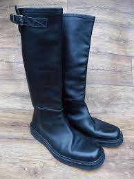 mens motorcycle style boots details about size uk 7 bally mens black leather long riding biker