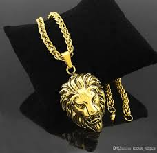 necklace pendants charms images Bling gold lion head pendant charm necklace wheat chain men 39 s jpg