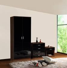 black u0026 walnut high gloss bedroom furniture 3 piece set wardrobe