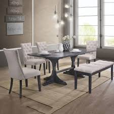 6 pc dining table set best quality d44 6pc 6 pc paulina collection antique gray finish