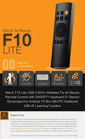mele f10 lite 2 4ghz wireless qwerty keyboard air mouse rremote