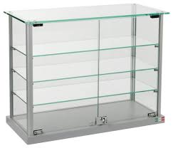 glass counter display cabinet countertop display case w glass canopy top shelves photo on