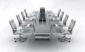 Large White Meeting Table Furniture Glass Conference Table With Business Chairs 3d Render