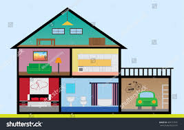 flat design house rooms bedroom living stock vector 403777975