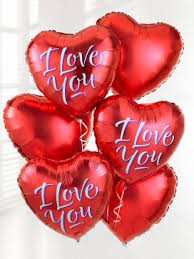 inflated helium balloons delivered 6 heart foil balloons 18in 45cm inflated 3 i you 3