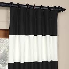 White Black Curtains Black And Off White 50 X 84 Inch Horizontal Stripe Curtain Half