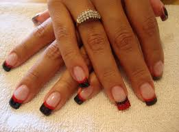 easy black and red colour nail designs for manicure