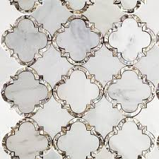 gorgeous mother of pearl and marble mosaic tile designed by cassie