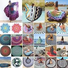 Wholesale Braided Rugs Mandala Round Tapestry Polyester Beach Mat Indian Yoga Mat Thin