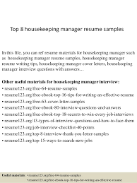 Resume Templates For Housekeeping Top 8 Housekeeping Manager Resume Sles 1 638 Jpg Cb 1427985476