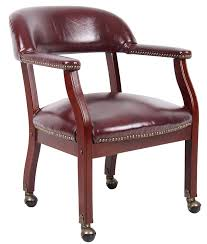 amazon com boss captain u0027s chair in burgundy vinyl w casters