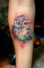 watercolor owl foot tattoo for women by robert winter tattoos
