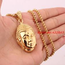 religious pendants newest yellow gold color buddha 316l stainless steel buddhist