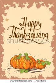 retro thanksgiving day card pumpkins leaves stock vector 478133347