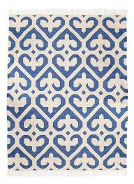 Royal Blue And White Rug Phool Royal Blue And White Dhurrie Rug Mahout Lifestyle