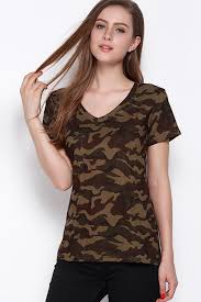 camo blouse army green camo pattern v neck casual t shirt t shirts