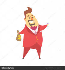 cartoon martini millionaire rich man holding money bag and glass of martini funny